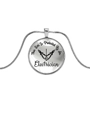 Cute Electrician's Lady Metallic Circle Necklace front