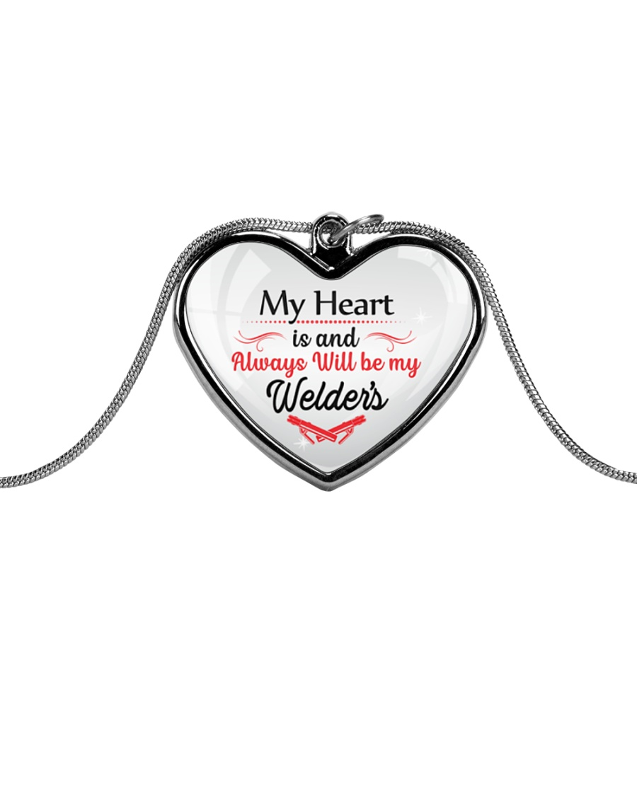 Cute Welder's Lady Metallic Heart Necklace