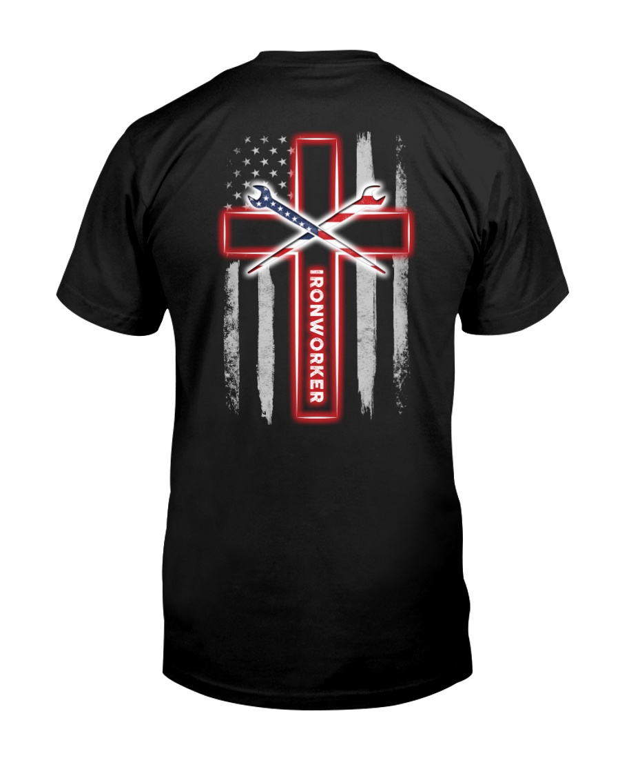 American Flag With Cross Ironworker Classic T-Shirt