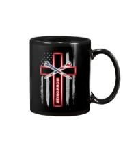 American Flag With Cross Ironworker Mug thumbnail