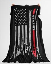"Lineman USA Flag Large Fleece Blanket - 60"" x 80"" aos-coral-fleece-blanket-60x80-lifestyle-front-10"