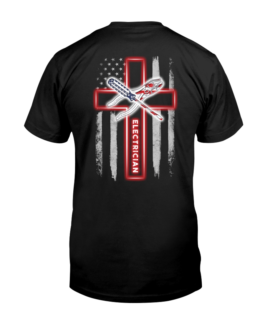 American Flag With Cross Electrician Classic T-Shirt