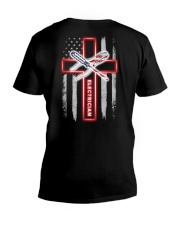American Flag With Cross Electrician V-Neck T-Shirt thumbnail
