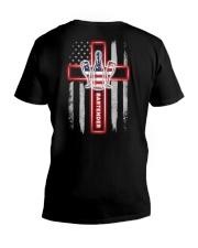 American Flag With Cross Bartender V-Neck T-Shirt thumbnail