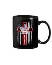 American Flag With Cross Bartender Mug thumbnail