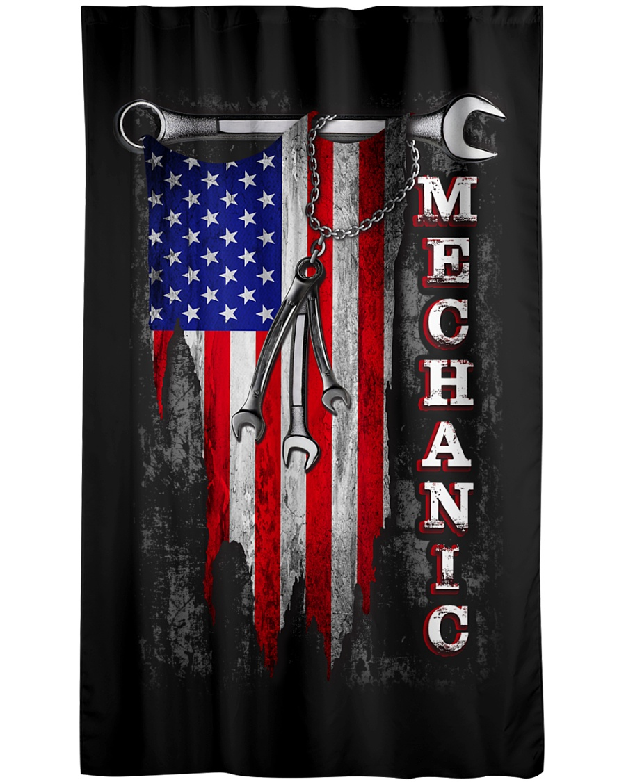 Mechanic USA Flag Window Curtain - Blackout