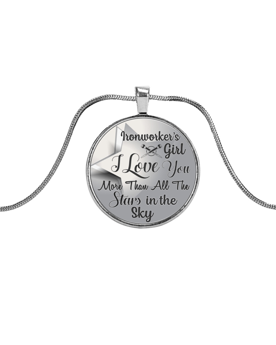 Cute Ironworker's Lady Metallic Circle Necklace