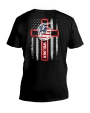 American Flag Welder T-Shirt and Hoodie V-Neck T-Shirt thumbnail