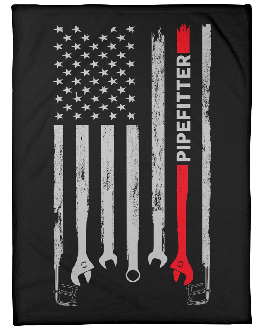 """Pipefitter USA Flag Large Fleece Blanket - 60"""" x 80"""""""