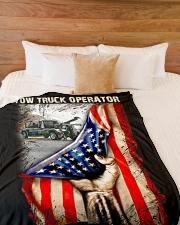 "Tow Truck Operator USA Flag Large Fleece Blanket - 60"" x 80"" aos-coral-fleece-blanket-60x80-lifestyle-front-02"