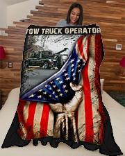 "Tow Truck Operator USA Flag Large Fleece Blanket - 60"" x 80"" aos-coral-fleece-blanket-60x80-lifestyle-front-04"