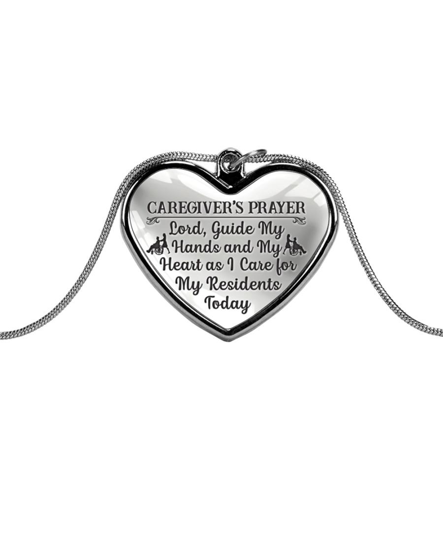 Proud Caregiver's Prayer Metallic Heart Necklace