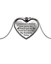 Proud Caregiver's Prayer Metallic Heart Necklace front