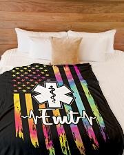 "Proud Emt Large Fleece Blanket - 60"" x 80"" aos-coral-fleece-blanket-60x80-lifestyle-front-02"