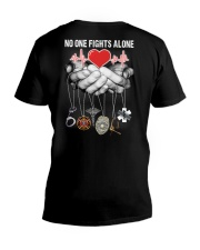 No One Fights Alone Nurse V-Neck T-Shirt thumbnail