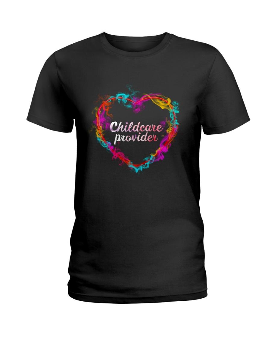 Childcare Provider Color Splash Heart  Ladies T-Shirt