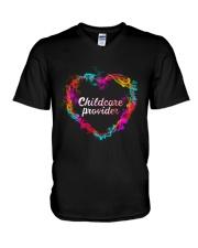 Childcare Provider Color Splash Heart  V-Neck T-Shirt thumbnail
