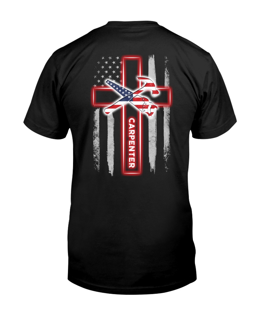 American Flag With Cross Carpenter Classic T-Shirt