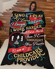 """I am A Childcare Provider Large Fleece Blanket - 60"""" x 80"""" aos-coral-fleece-blanket-60x80-lifestyle-front-04"""