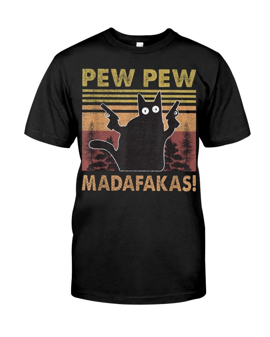 Cat Vintage PewPewPew Madafakas Cat Crazy Classic T-Shirt