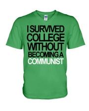 I Survived College Without Communist Shirt V-Neck T-Shirt thumbnail