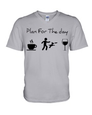 Plan for the day disc dog V-Neck T-Shirt tile