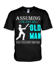 cricket old man V-Neck T-Shirt thumbnail