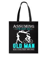 Triathlon assuming man Tote Bag thumbnail