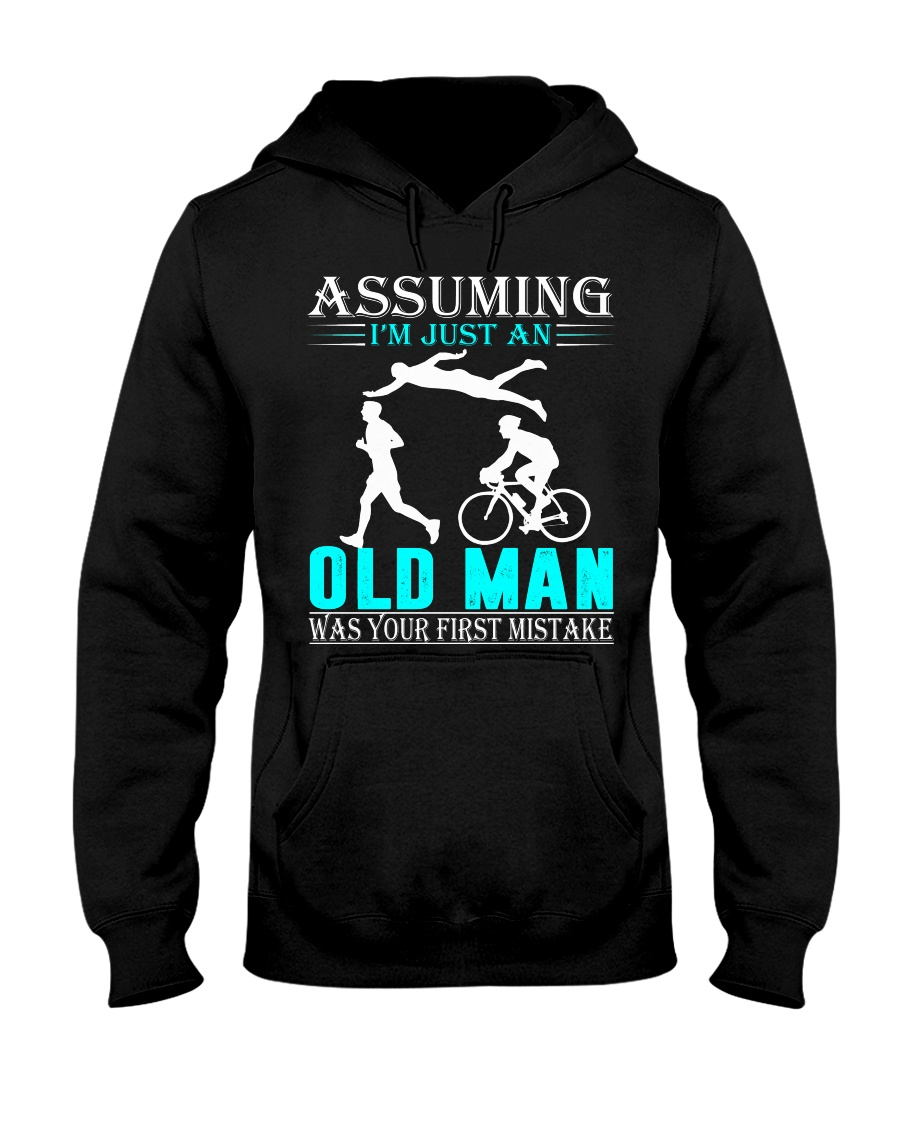 Triathlon assuming man Hooded Sweatshirt