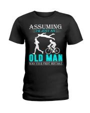 Triathlon assuming man Ladies T-Shirt thumbnail