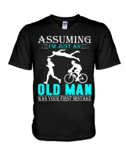 Triathlon assuming man V-Neck T-Shirt thumbnail