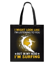 surfing in her hand Tote Bag thumbnail