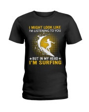 surfing in her hand Ladies T-Shirt thumbnail