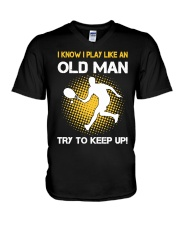 old man tennis V-Neck T-Shirt tile