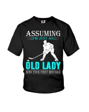 hockey old lady Youth T-Shirt thumbnail