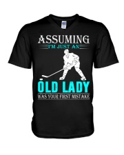 hockey old lady V-Neck T-Shirt thumbnail