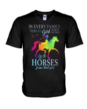 girl with horses V-Neck T-Shirt thumbnail