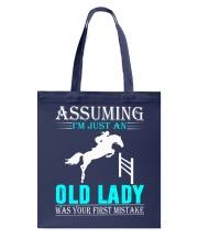 show jumping old lady Tote Bag thumbnail