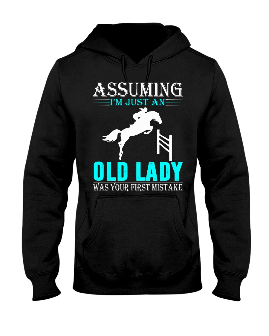 show jumping old lady Hooded Sweatshirt