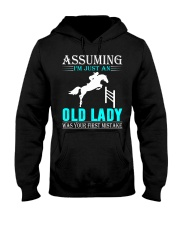 show jumping old lady Hooded Sweatshirt front