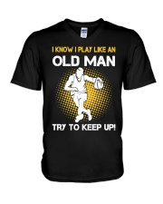 old man basketball V-Neck T-Shirt thumbnail