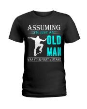 Skateboarding old man Ladies T-Shirt thumbnail