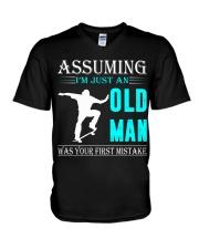 Skateboarding old man V-Neck T-Shirt thumbnail