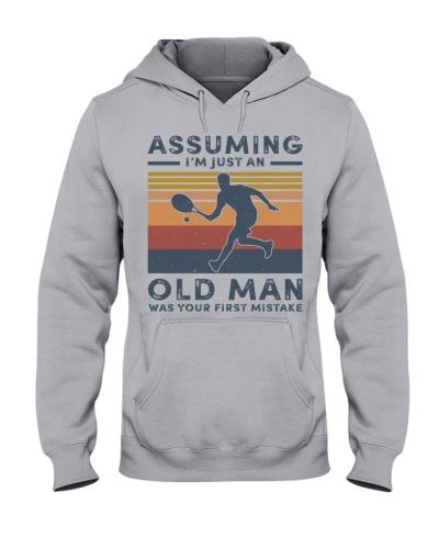 assuming old man with tennis
