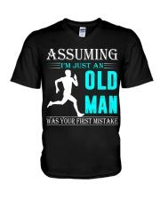 jogging old man V-Neck T-Shirt thumbnail