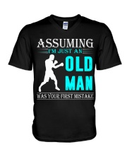 boxing old man V-Neck T-Shirt thumbnail