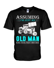micro sprint car old man n002 V-Neck T-Shirt thumbnail