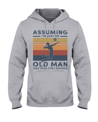 assuming old man with volleyball