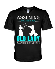kendo old lady V-Neck T-Shirt thumbnail
