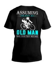 cycling old man V-Neck T-Shirt thumbnail